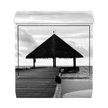 Design Briefkasten - Tropical Beach Schwarz Weiss - mit Zeitungsfach