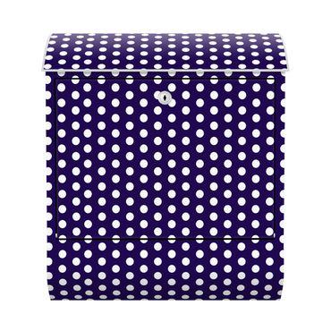 Design Briefkasten - Lila Purple mit weißen Punkten - mit Zeitungsfach  – Bild 1