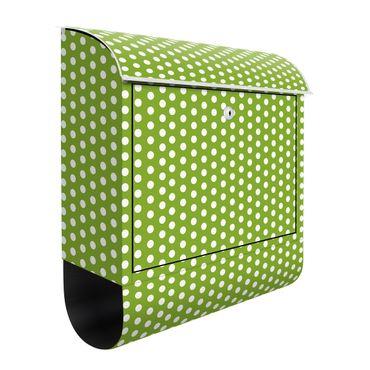 Design Briefkasten - Grün mit weißen Punkten - mit Zeitungsfach  – Bild 3