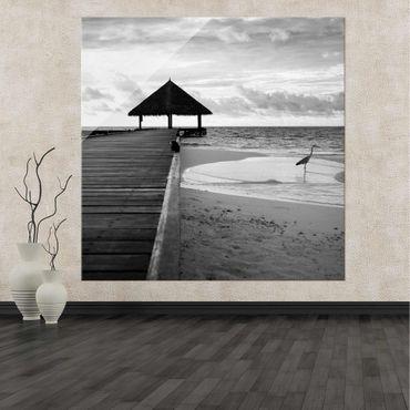 Acrylbild Tropical Beach | schwarz weiß – Bild 2