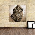 Acrylbild Löwenkopf in Sepia