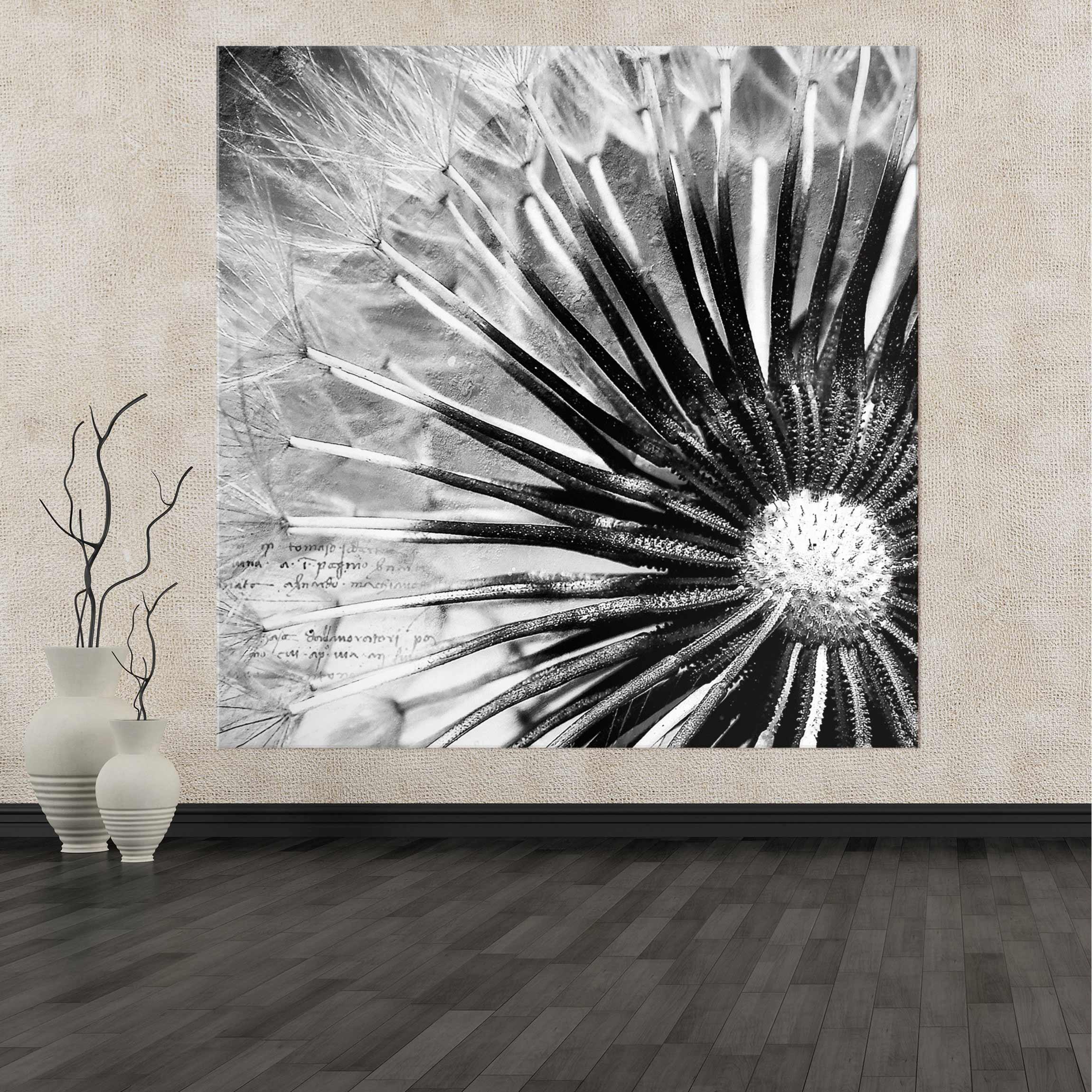 Acrylbild Pusteblume II | schwarz weiß