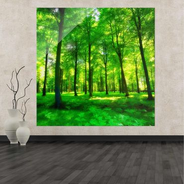 Glasbild Green Forest Lights – Bild 2