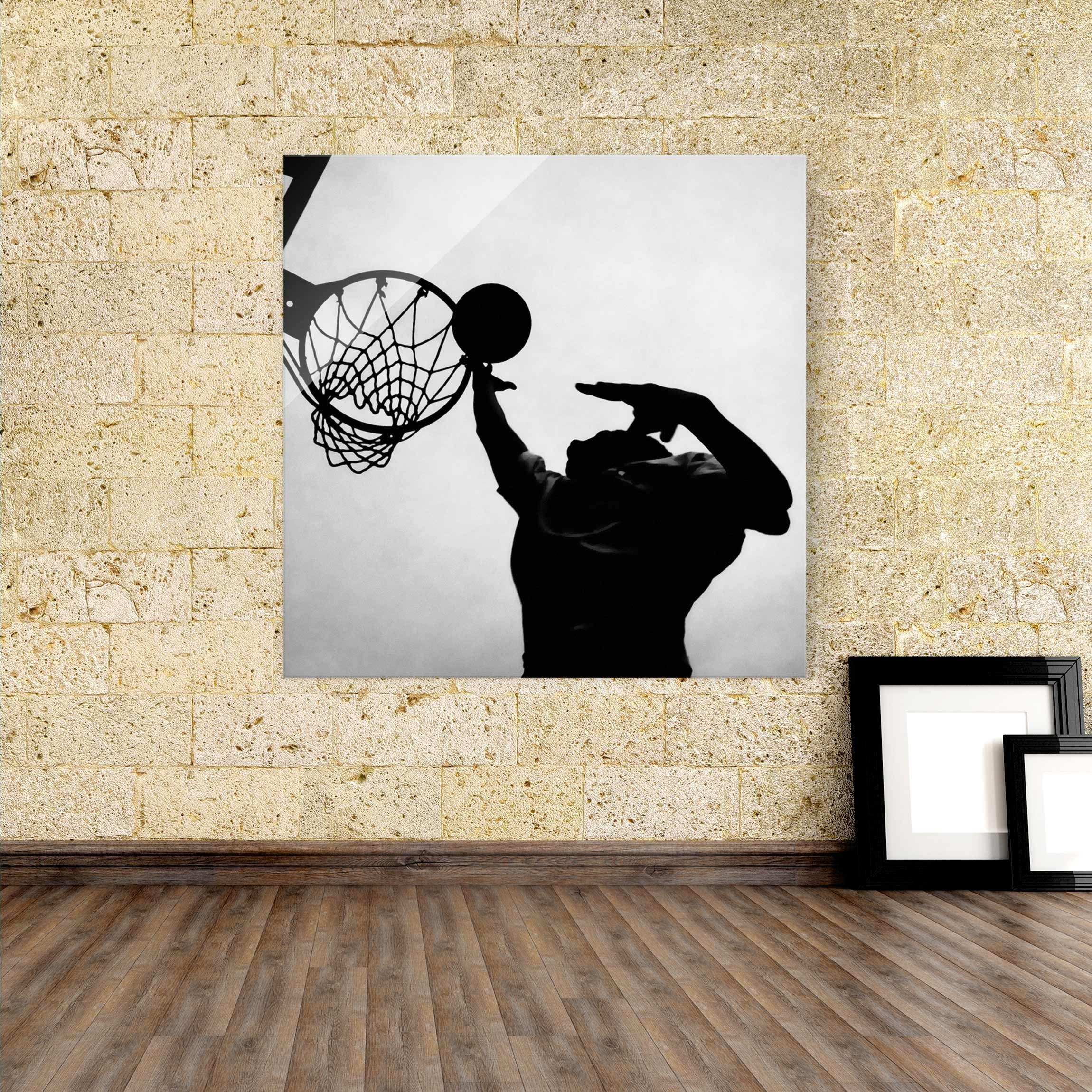 glasbild basketball schwarz wei. Black Bedroom Furniture Sets. Home Design Ideas