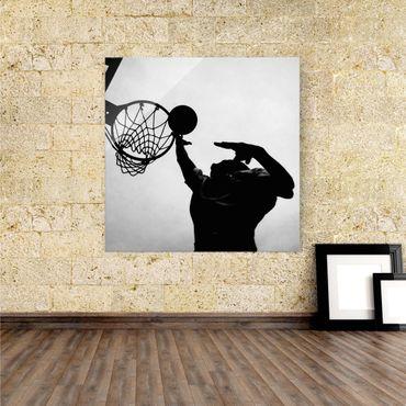 Glasbild Basketball schwarz weiß – Bild 1