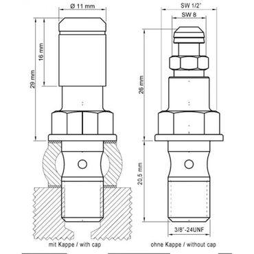 Stahlbus Hohlschraube mit Entlüftungsventil 3/8 Zoll-24UNFx20mm - Alu eloxiert natur – Bild 2