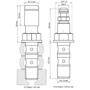 Stahlbus Doppelhohlschraube mit Entlüftungsventil 3/8 Zoll-24UNFx33mm - Alu – Bild 2