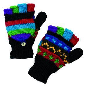 Handgestrickte Handschuhe ohne Finger mit Klappe aus Wolle – Bild 2