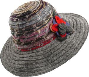 Damenhut mit breitem Rand in grau