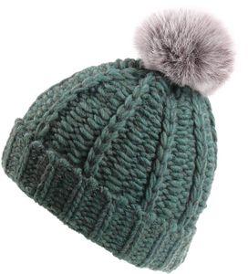 Grobgestrickte Mütze mit Bommel in 3 Farben – Bild 4