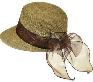 Ovaler Strohhut mit  braunem Stoffband – Bild 3