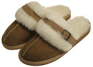 Extra dicke Lammfell Pantoffeln für Damen mit Schnallen Verzierung  – Bild 3