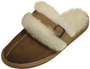 Extra dicke Lammfell Pantoffeln für Damen mit Schnallen Verzierung  – Bild 2