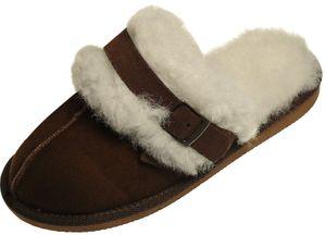 Extra dicke Lammfell Pantoffeln für Damen mit Schnallen Verzierung  – Bild 5