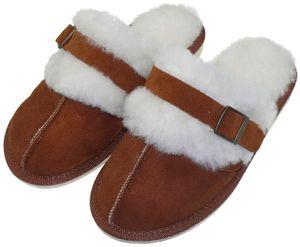 Extra dicke Lammfell Pantoffeln für Damen mit Schnallen Verzierung  – Bild 12