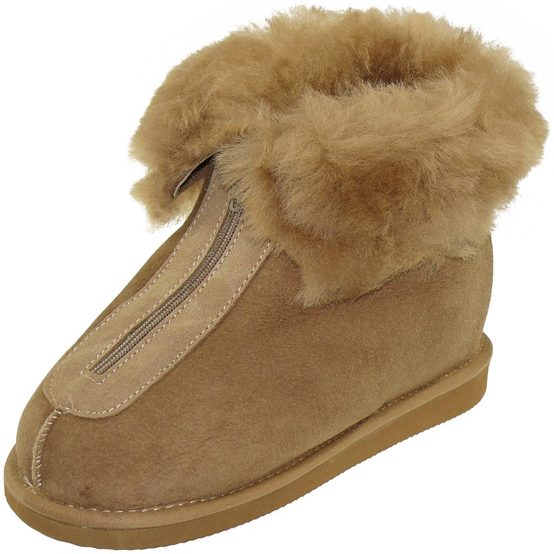 natürlich warm gemütlich Leder braun / Wolle/ Schafsfell Hausschuhe Stiefel