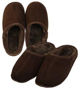 Extra dicke Lammfell Pantoffeln mit Ledersohle für Damen und Herren – Bild 2
