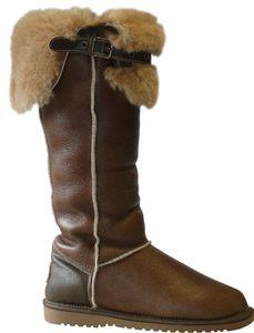 Hohe Lammfell Stiefel mit fester Sohle in 3 Farben – Bild 5