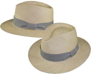 Großer Panamahut mit gestreiftem Band