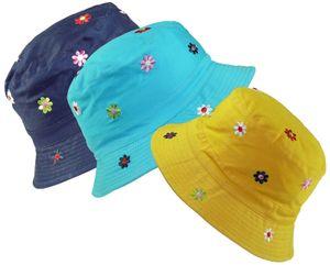 Fischerhut für Mädchen mit gestickten Blumen