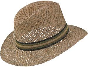 Sehr leichter Strohhut mit braunem Band aus 2 Stroh arten kombiniert – Bild 3