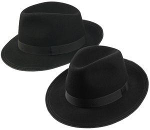 eleganter Herrenhut aus Wolle in schwarz mit abgestepptem Rand
