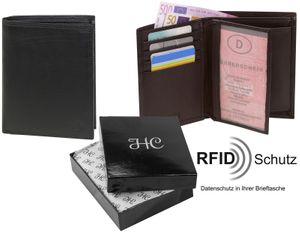 Hochformat Geldbörse in weichem Nappa Leder doppel Naht  mit RFID Schutz