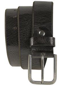 Ledergürtel Büffelleder mit Altsilberschließe gebrochene Kante 4 cm Vintage – Bild 2