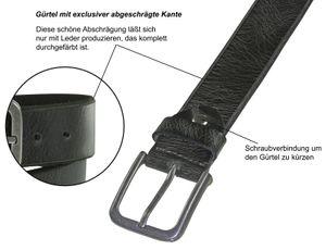 Ledergürtel Büffelleder mit Altsilberschließe gebrochene Kante 4 cm Vintage – Bild 4