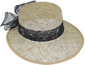 Ovaler Hut aus Seegras mit Chiffonband – Bild 2