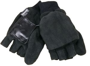 Fleece Handschuhe mit Klappe Strickbund Fleece