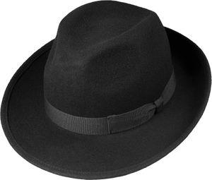 Schwarzer Wollhut in klassischer Bogart Form  – Bild 1