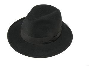 Schwarz Hut  klassischer Form mit schwarzem Stoffband!