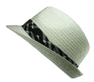 Trilby Hut in weiß mit schwarz grauem Stoffband
