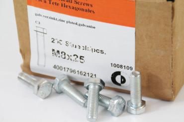 120 Stück Sechskantschrauben  M8 x 25 SW13 galv. verzinkt ISO 4017 DIN 933