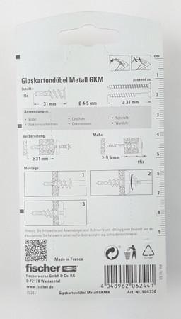 fischer Gipskartondübel Metall GKM K SB-Karte Hohlraumdübel Hohlwanddübel – Bild 2