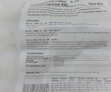 WHD KEL GE/GJBJP/JU-T Einbau Kontrollautsprecher  – Bild 3
