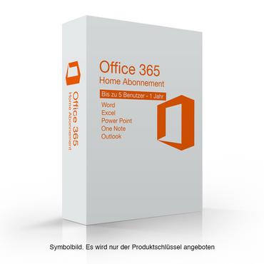 Microsoft Office 365 Home, 1 Jahres Abo oder Verlängerung, Für 5 PC / MAC, NEU