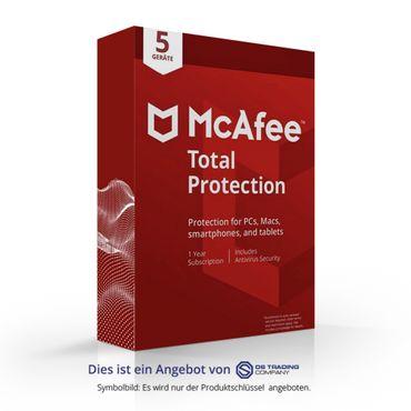 McAfee Total Protection, 5 Geräte, 1 Jahr für PC/Mac/Smartphone