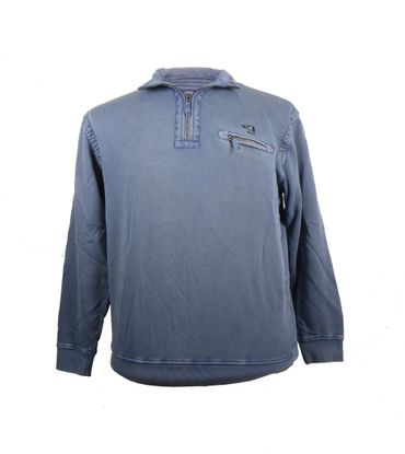 Jeansblauer Monte Carlo Troyer mit Brusttasche in großen Größen