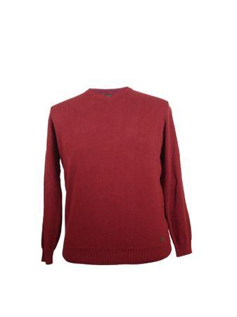 Pullover mit V- Ausschnitt von Casa Moda, weinrot