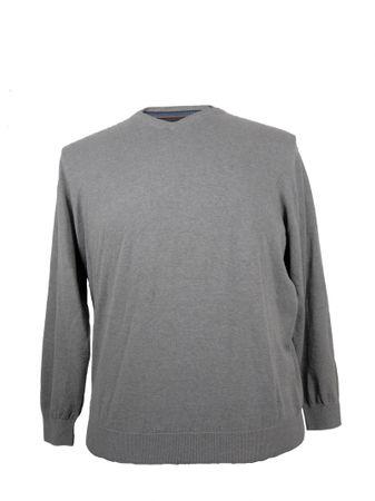 Baumwoll Pullover mit V- Ausschnitt für Freizeit oder Beruf von Casa Moda, hellgrau