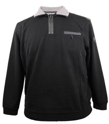 Schwarzes Hajo Sweatshirt mit Kragen und Brusttasche in Strickoptik