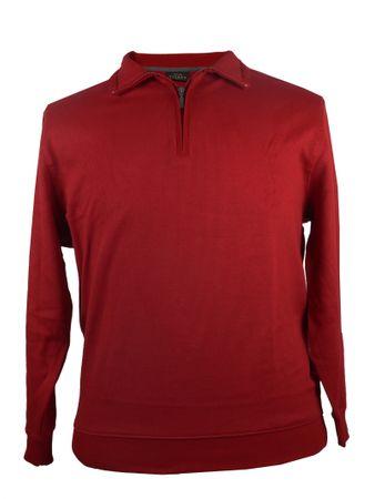 Sweat Shirt mit Polo Kragen und Reißverschluss in Rot von Kitaro