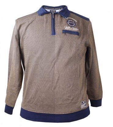 Maritimes Kitaro Sweat Shirt mit Polokragen,beige-blau