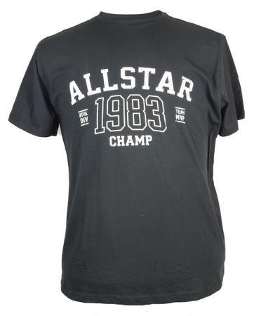 Schwarzes Replika T-Shirt mit Retro Druck