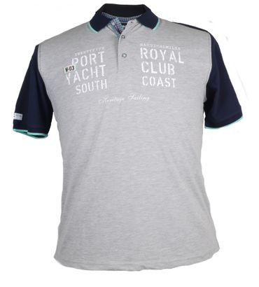Poloshirt von Monte Carlo in Herren-Übergröße bis 7XL, silbergrau