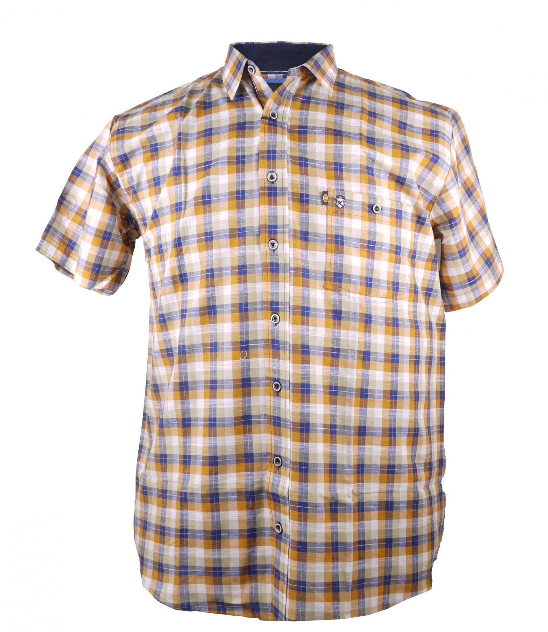 abdc8a24d898 XXL Sommer Hemd von Kamro, orange blau kariert