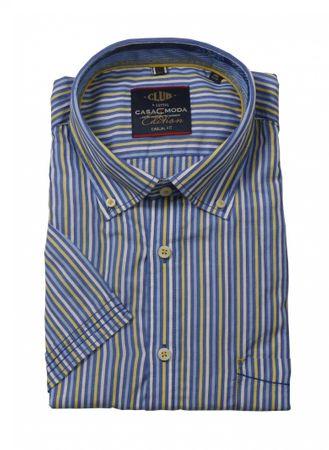 Gestreiftes Casa Moda Kurzarmhemd mit Button Down, gelb