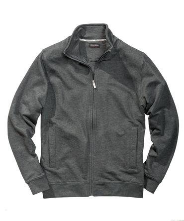 Sweatshirtjacke mit Stehkragen in Herrenübergröße von Redfield in anthra. melange